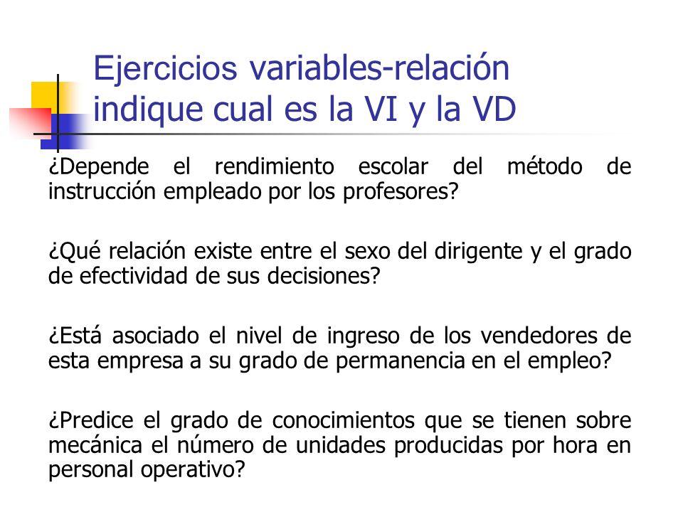 Ejercicios variables-relación indique cual es la VI y la VD