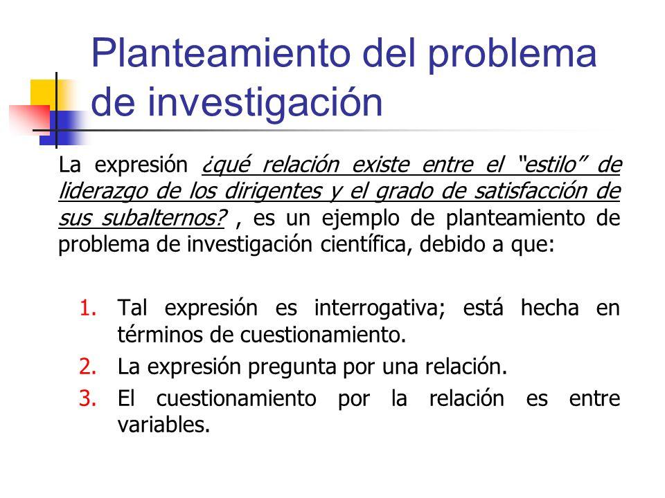 Planteamiento del problema de investigación
