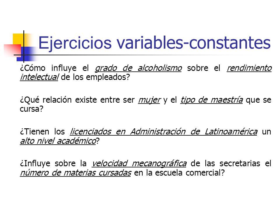 Ejercicios variables-constantes