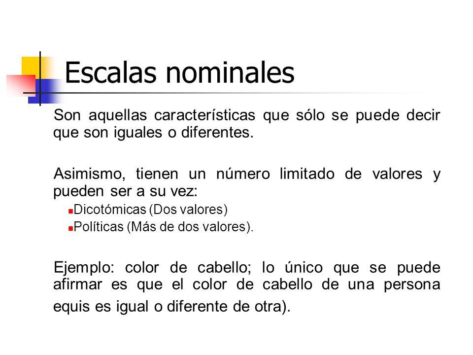 Escalas nominales Son aquellas características que sólo se puede decir que son iguales o diferentes.