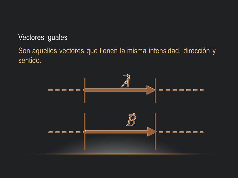 Vectores iguales Son aquellos vectores que tienen la misma intensidad, dirección y sentido.