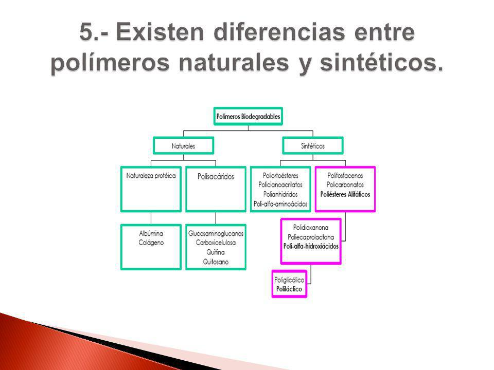 5.- Existen diferencias entre polímeros naturales y sintéticos.
