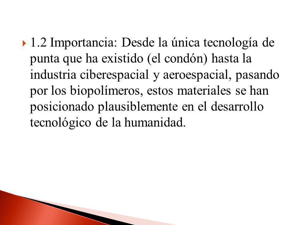1.2 Importancia: Desde la única tecnología de punta que ha existido (el condón) hasta la industria ciberespacial y aeroespacial, pasando por los biopolímeros, estos materiales se han posicionado plausiblemente en el desarrollo tecnológico de la humanidad.