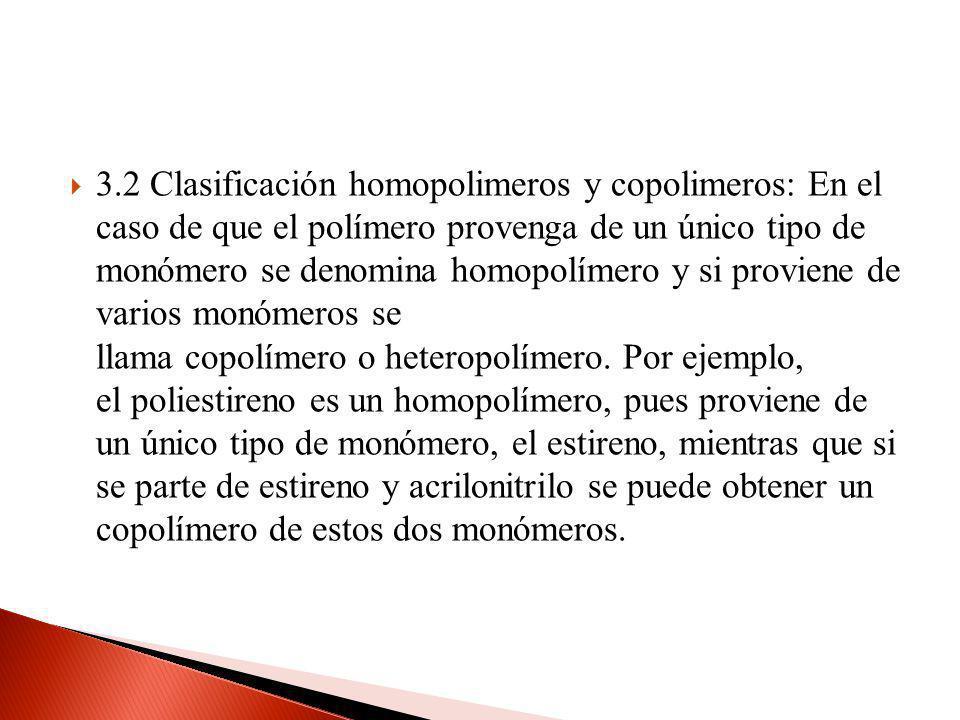 3.2 Clasificación homopolimeros y copolimeros: En el caso de que el polímero provenga de un único tipo de monómero se denomina homopolímero y si proviene de varios monómeros se llama copolímero o heteropolímero.