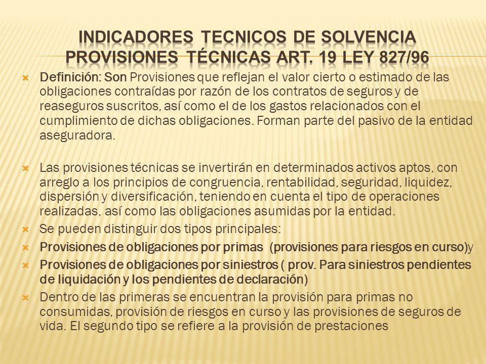 INDICADORES TECNICOS DE SOLVENCIA provisiones técnicas art