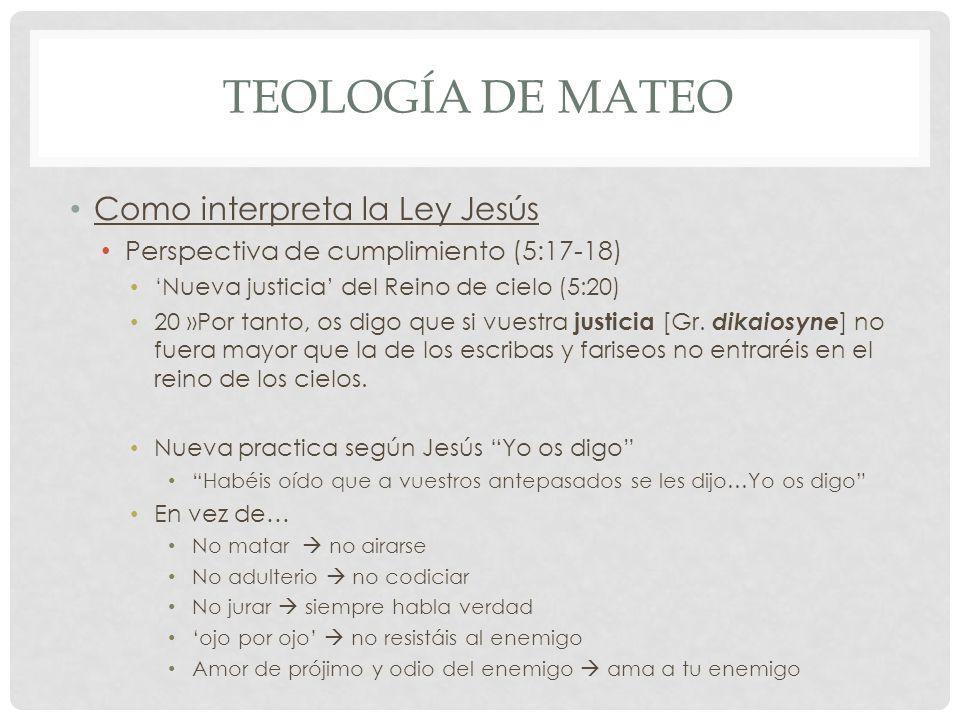 Teología de mateo Como interpreta la Ley Jesús