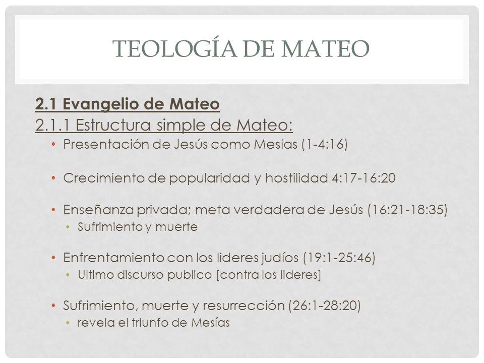 Teología de mateo 2.1 Evangelio de Mateo