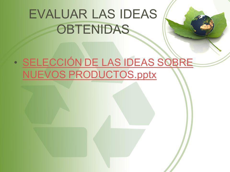 EVALUAR LAS IDEAS OBTENIDAS