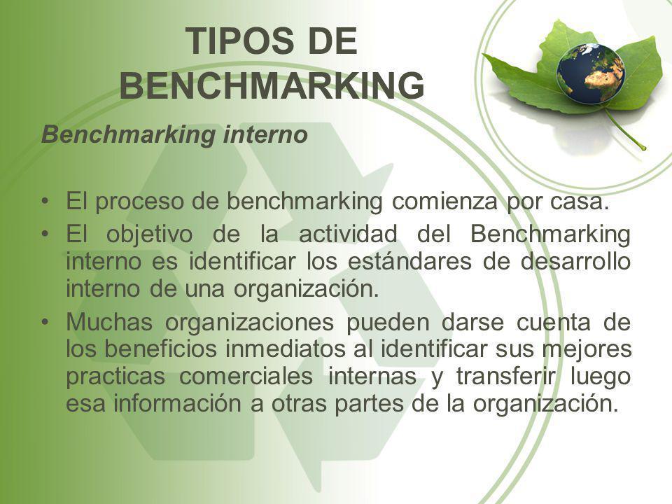 TIPOS DE BENCHMARKING Benchmarking interno