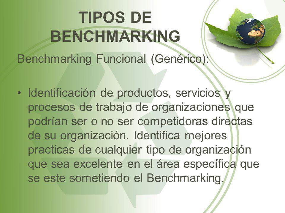 TIPOS DE BENCHMARKING Benchmarking Funcional (Genérico):