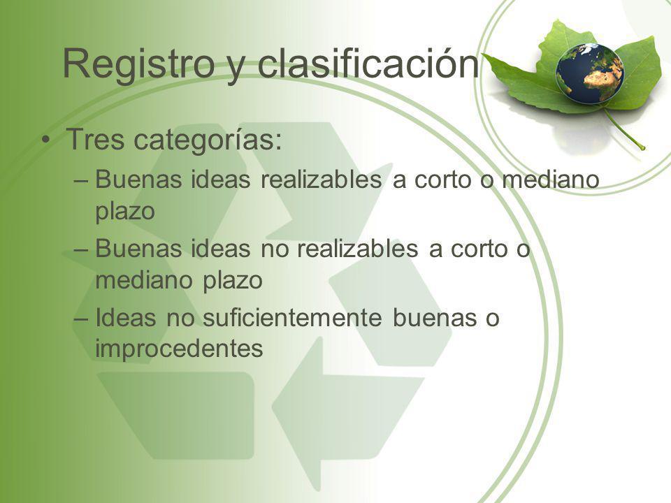 Registro y clasificación