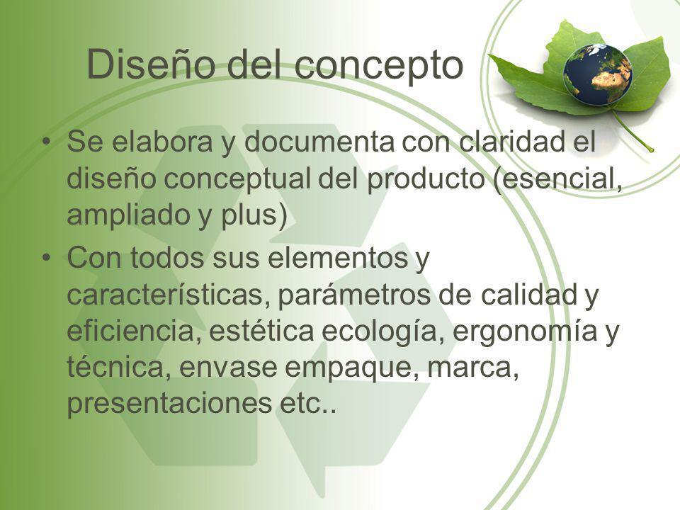 Diseño del concepto Se elabora y documenta con claridad el diseño conceptual del producto (esencial, ampliado y plus)