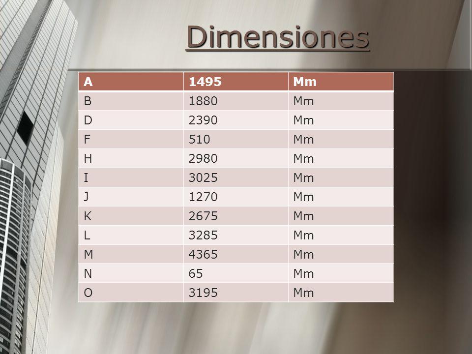 Dimensiones A 1495 Mm B 1880 D 2390 F 510 H 2980 I 3025 J 1270 K 2675