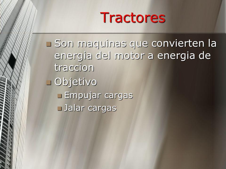 Tractores Son maquinas que convierten la energia del motor a energia de traccion. Objetivo. Empujar cargas.