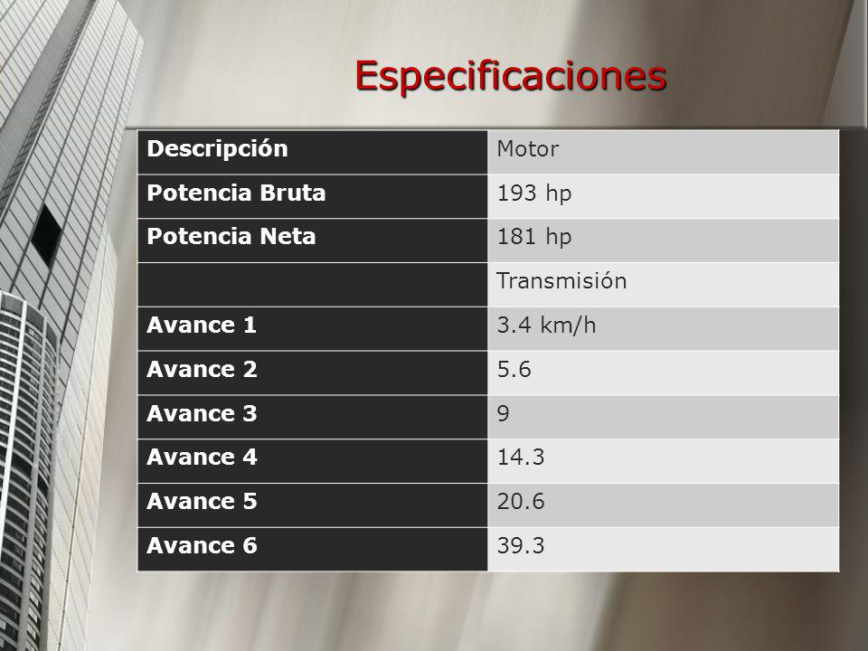 Especificaciones Descripción Motor Potencia Bruta 193 hp Potencia Neta