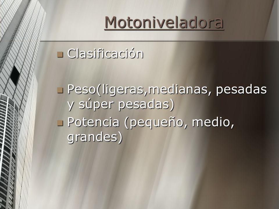 Motoniveladora Clasificación