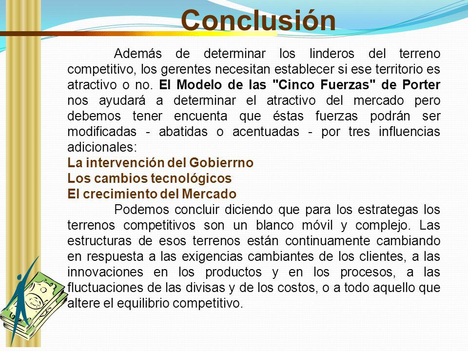 Conclusión La intervención del Gobierrno Los cambios tecnológicos