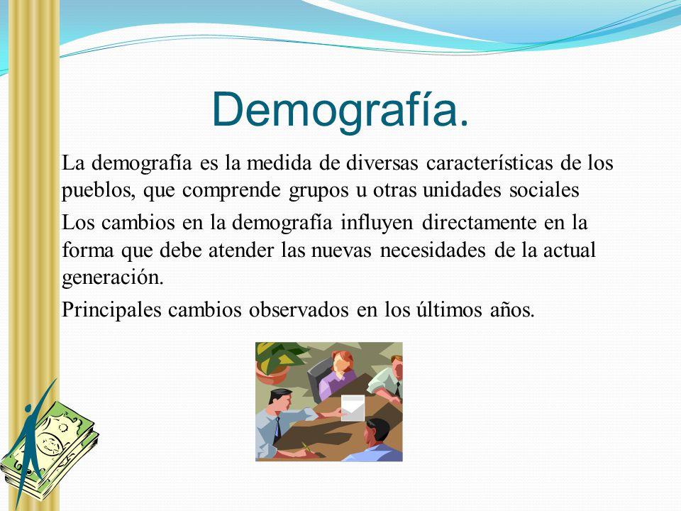 Demografía. La demografía es la medida de diversas características de los pueblos, que comprende grupos u otras unidades sociales.