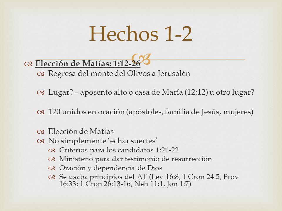 Hechos 1-2 Elección de Matías: 1:12-26