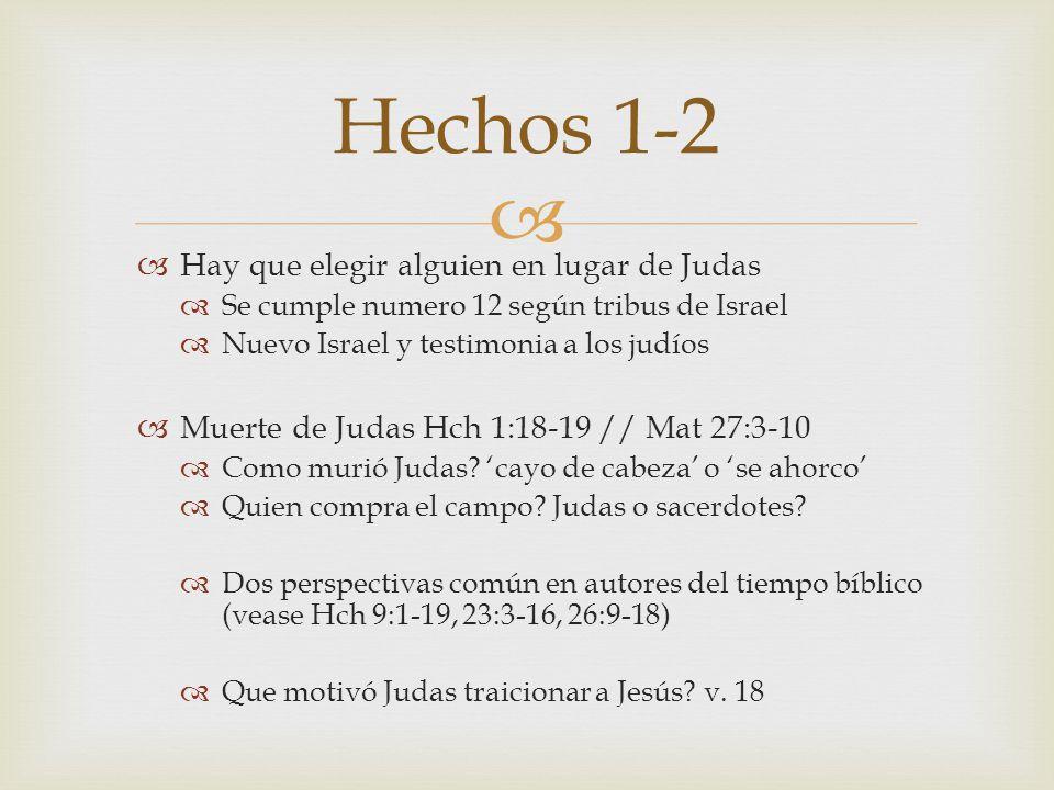 Hechos 1-2 Hay que elegir alguien en lugar de Judas