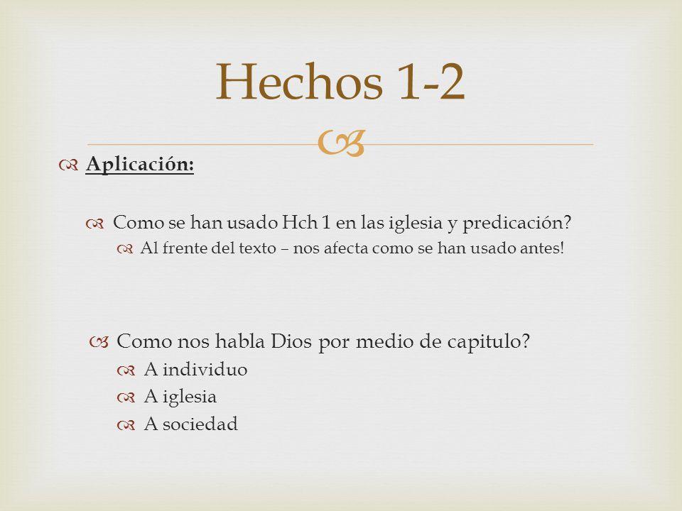 Hechos 1-2 Aplicación: Como nos habla Dios por medio de capitulo