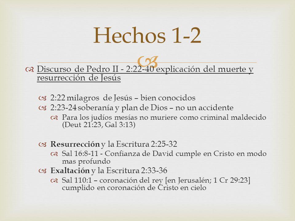 Hechos 1-2 Discurso de Pedro II - 2:22-40 explicación del muerte y resurrección de Jesús. 2:22 milagros de Jesús – bien conocidos.