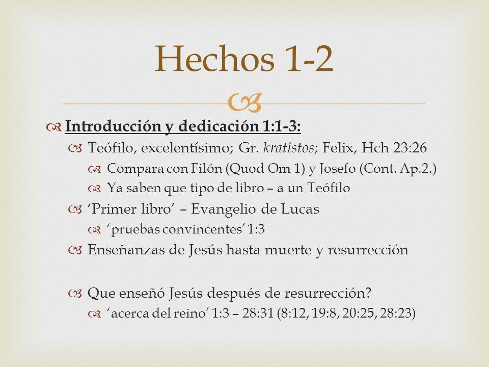 Hechos 1-2 Introducción y dedicación 1:1-3: