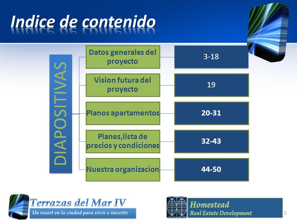 Indice de contenido DIAPOSITIVAS Datos generales del proyecto 3-18