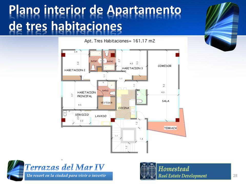 Plano interior de Apartamento de tres habitaciones