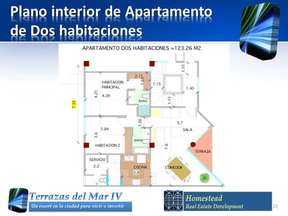 Plano interior de Apartamento de Dos habitaciones