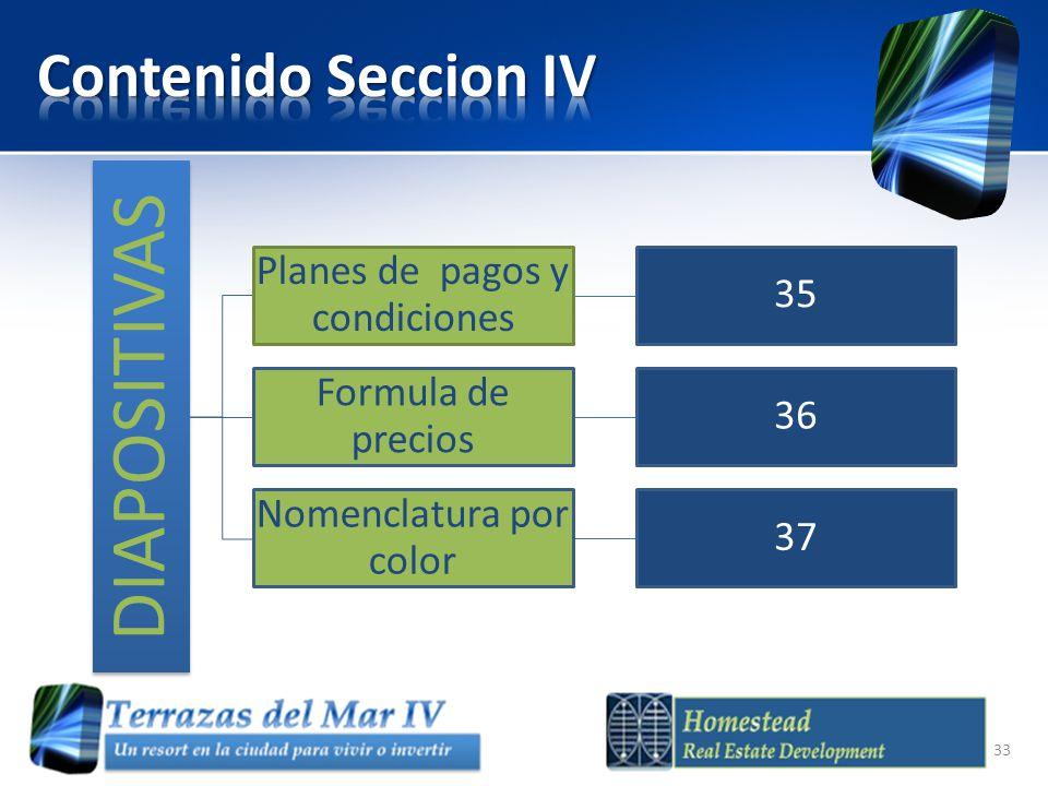 Contenido Seccion IV DIAPOSITIVAS Planes de pagos y condiciones 35