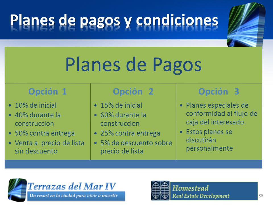 Planes de pagos y condiciones