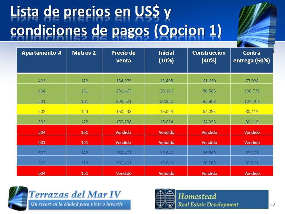 Lista de precios en US$ y condiciones de pagos (Opcion 1)