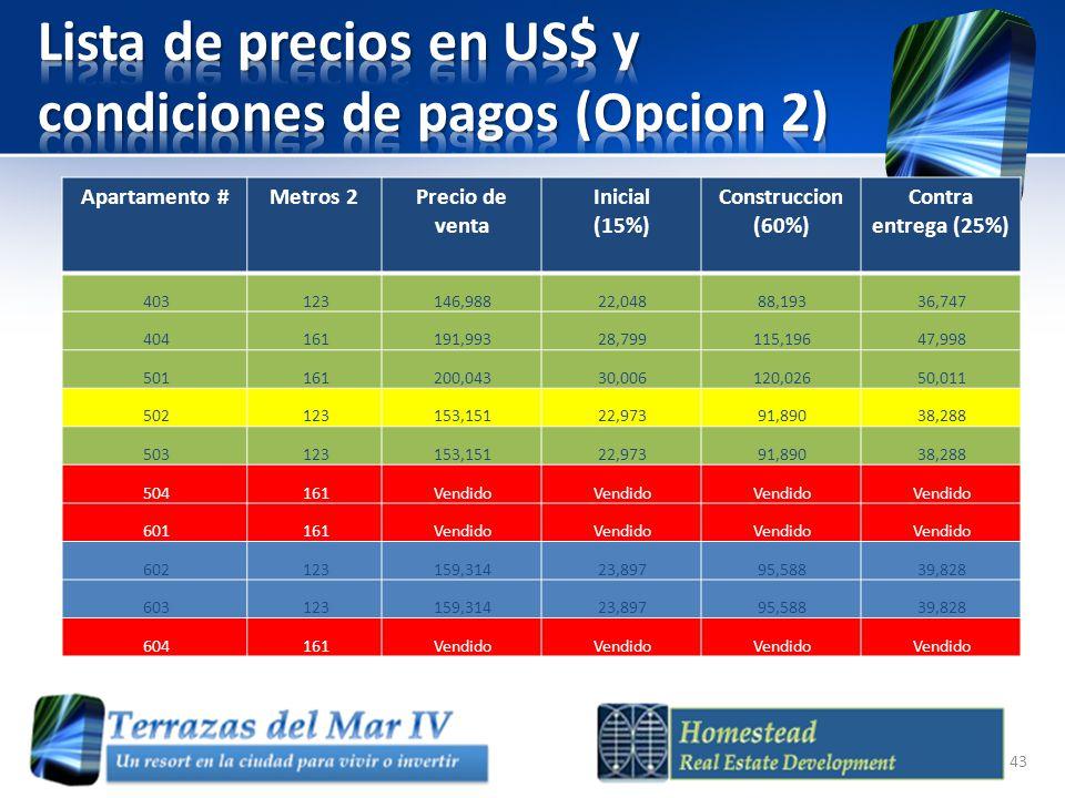 Lista de precios en US$ y condiciones de pagos (Opcion 2)