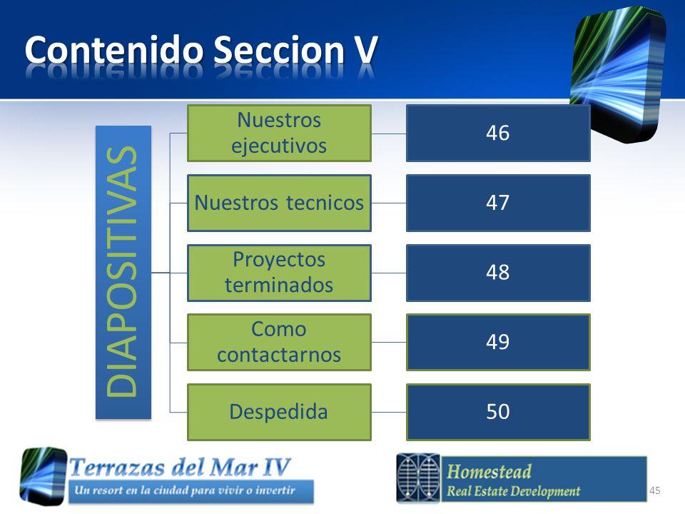 Contenido Seccion V DIAPOSITIVAS Nuestros ejecutivos 46