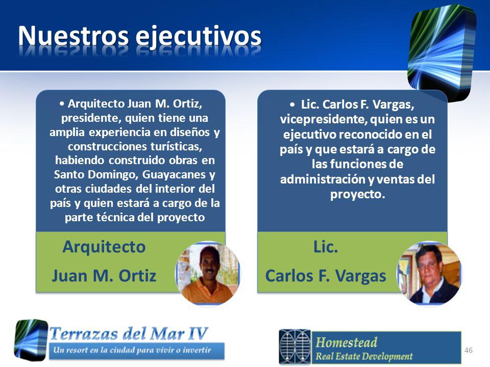 Nuestros ejecutivos Arquitecto Juan M. Ortiz Lic. Carlos F. Vargas