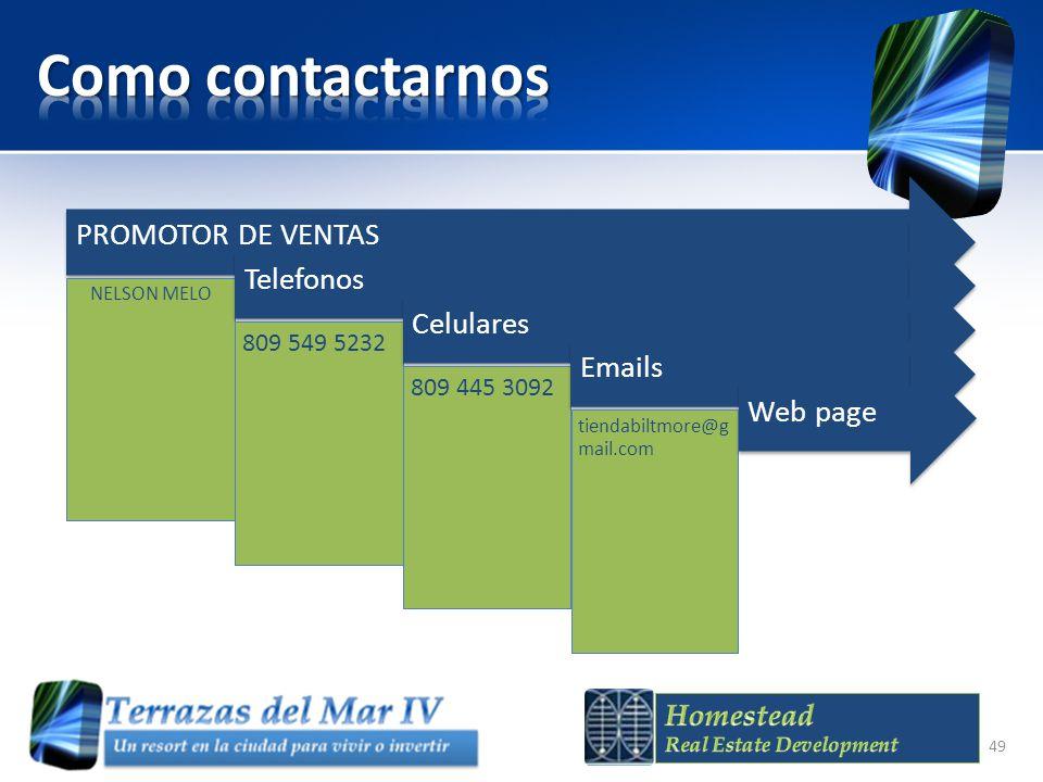 Como contactarnos PROMOTOR DE VENTAS Telefonos Celulares Emails