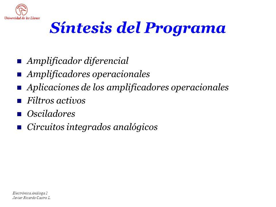 Síntesis del Programa Amplificador diferencial