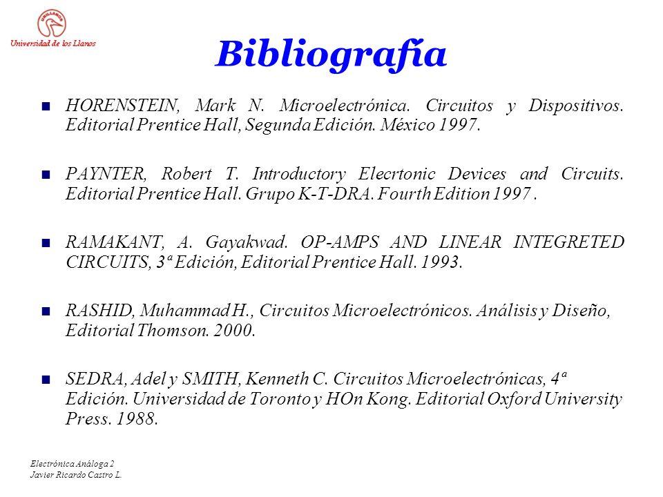 Bibliografía HORENSTEIN, Mark N. Microelectrónica. Circuitos y Dispositivos. Editorial Prentice Hall, Segunda Edición. México 1997.