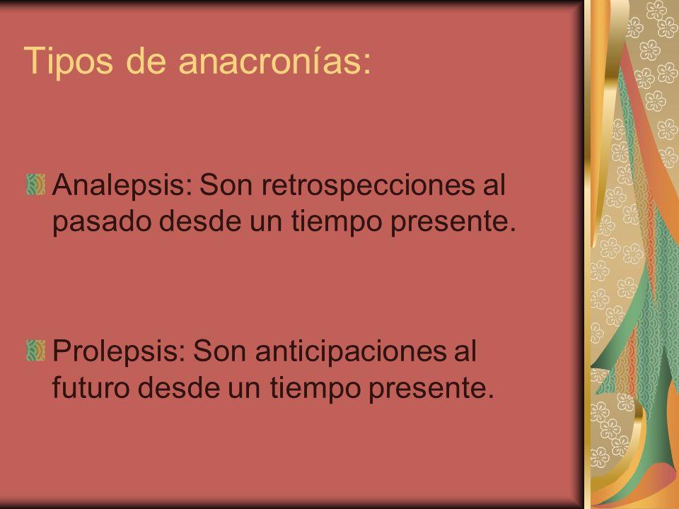 Tipos de anacronías: Analepsis: Son retrospecciones al pasado desde un tiempo presente.