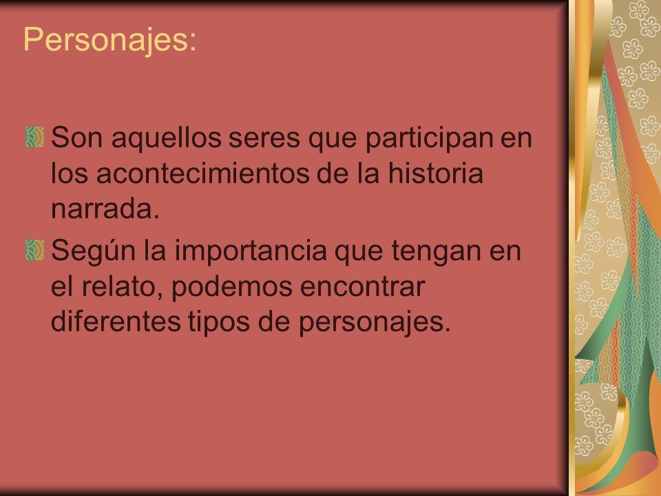 Personajes: Son aquellos seres que participan en los acontecimientos de la historia narrada.