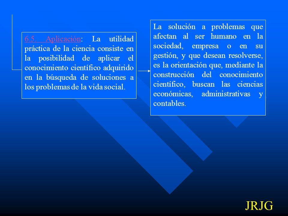 6.5. Aplicación: La utilidad práctica de la ciencia consiste en la posibilidad de aplicar el conocimiento científico adquirido en la búsqueda de soluciones a los problemas de la vida social.