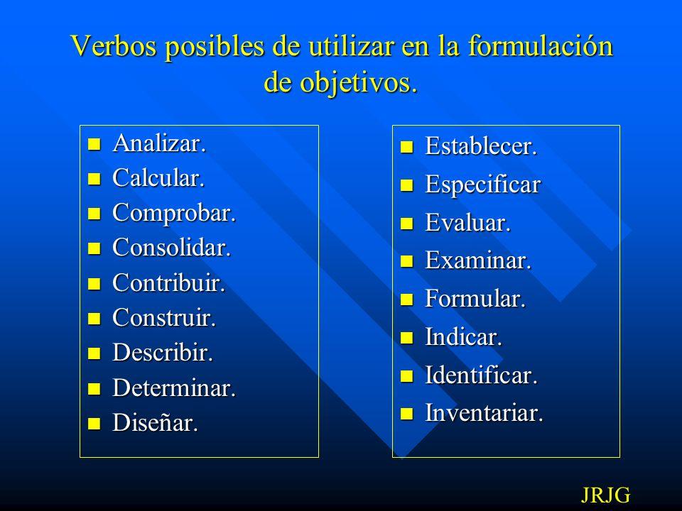 Verbos posibles de utilizar en la formulación de objetivos.