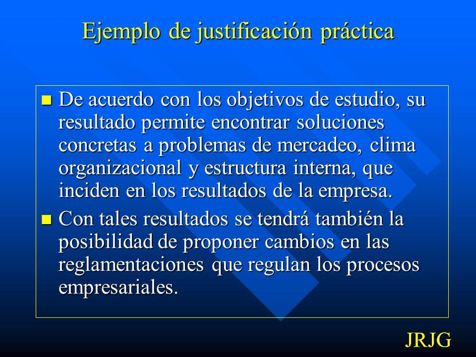 Ejemplo de justificación práctica