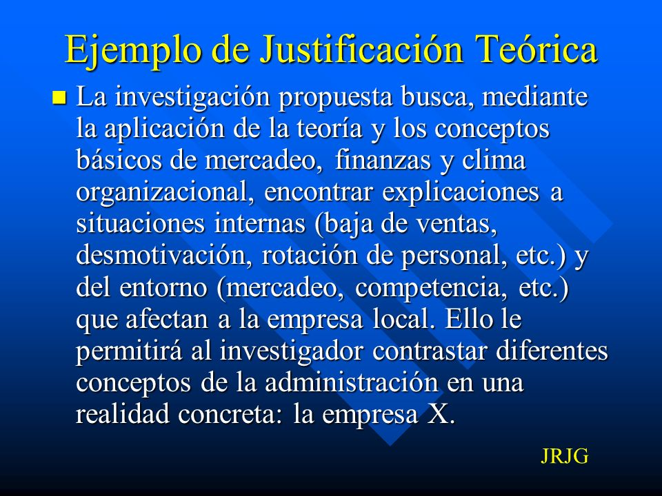 Ejemplo de Justificación Teórica