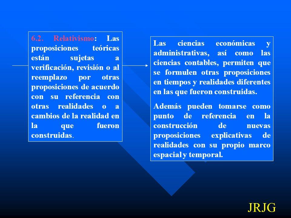 6.2. Relativismo: Las proposiciones teóricas están sujetas a verificación, revisión o al reemplazo por otras proposiciones de acuerdo con su referencia con otras realidades o a cambios de la realidad en la que fueron construidas.
