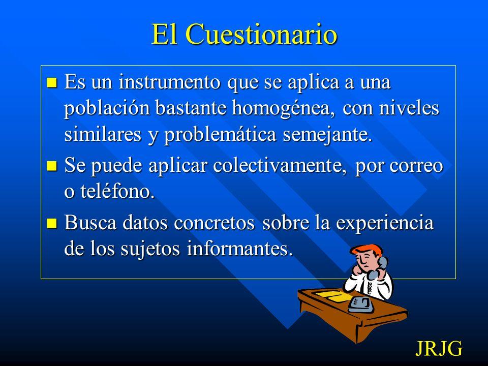 El CuestionarioEs un instrumento que se aplica a una población bastante homogénea, con niveles similares y problemática semejante.