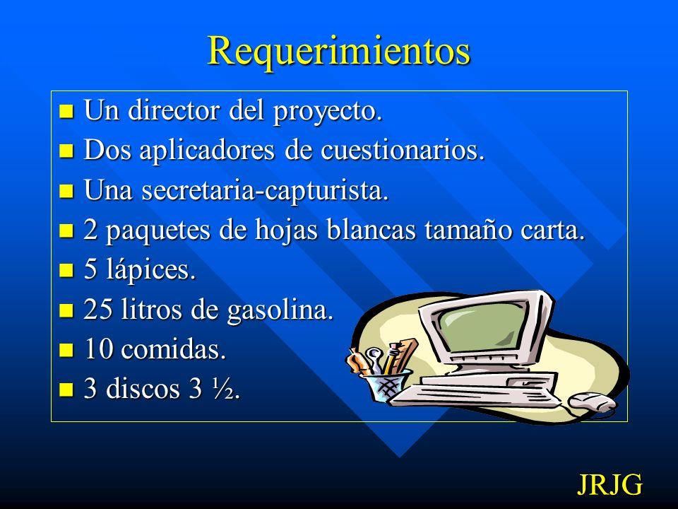 Requerimientos Un director del proyecto.