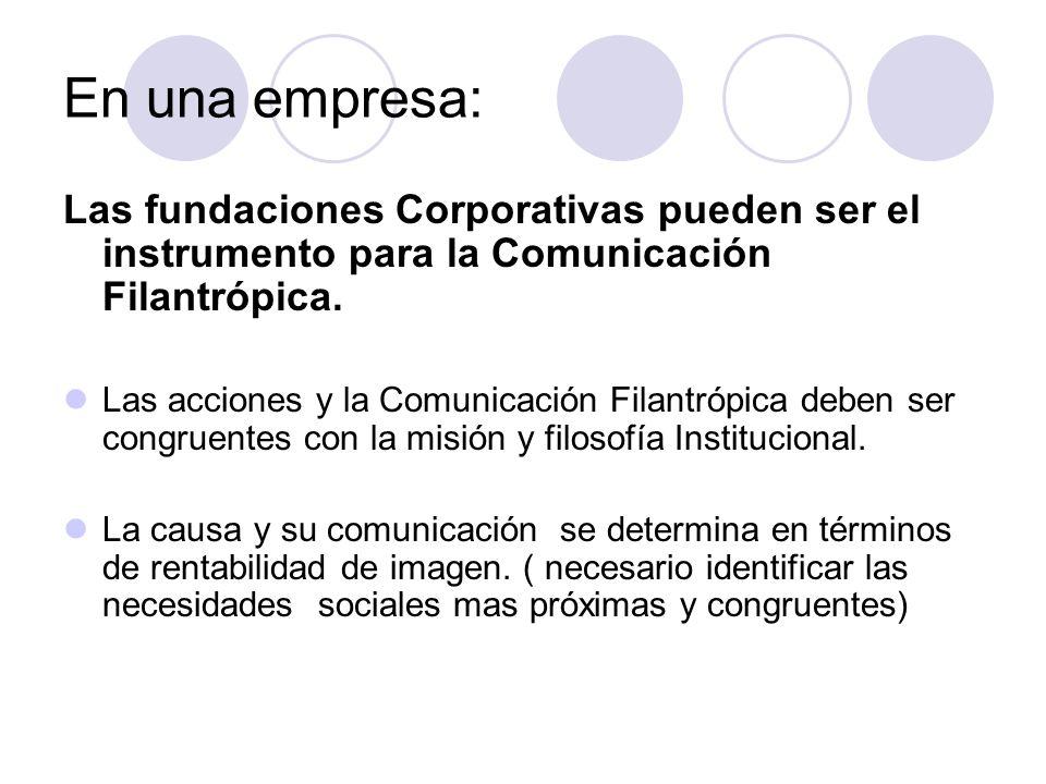 En una empresa:Las fundaciones Corporativas pueden ser el instrumento para la Comunicación Filantrópica.