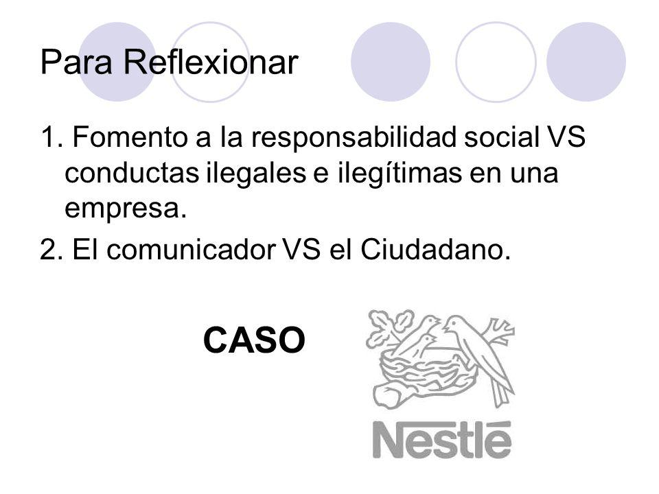 Para Reflexionar 1. Fomento a la responsabilidad social VS conductas ilegales e ilegítimas en una empresa.